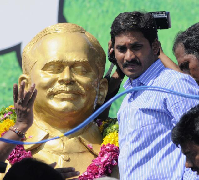 Former Kadapa MP Y.S.Jagan Mohan Reddy on the dais as part the 48-hour hunger strike demanding relief to farmers affected in the recent rains, in Vijayawada on Tuesday.